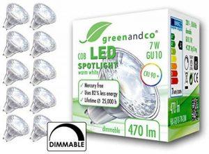 10x greenandco® IRC 90+ Spot à LED graduable GU10 7W équivalent 40W, 470lm 3000K blanc chaud COB LED 38° 230V AC de la marque greenandco image 1 produit