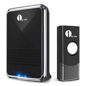 1byone Easy Chime Ensemble de sonnettes sans fil avec son qualité CD et flash LED, 36mélodies à choisir, noir, noir, O00QH-0013 de la marque 1Byone image 0 produit