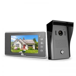 1Byone Visiophone Couleurs - 1 x Moniteur Ecran Vidéo 7-Pouce et caméra HD avec 125 cm de Câbles, 1 x Sonnette d'Extérieure 120° Angle Visuelle Vision Nocture IR - 2 Câbles Vidéo Système Intercom avec 1G SD Carte de la marque 1Byone image 0 produit