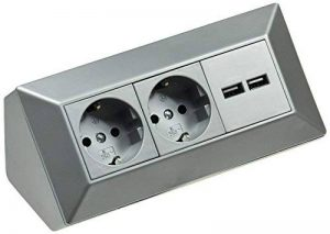 2-fach Steckdosenblock + 2x USB, silber 250V~/ 16A de la marque Chilitec image 0 produit
