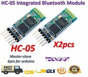 2pcs HC-05 Integrated Bluetooth Module Wireless Serial Port Module HC05   2pcs HC-05 sans fil série Bluetooth émetteur-récepteur RF module 6 broches maître-esclave Bluetooth Extender plaque pour Arduino et authentique de la marque TECNOIOT image 0 produit