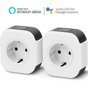 2X Prise connectée Wi-FI, Prise fonctionnant avec Amazon Alexa et Google Home IFTTT, Télécommande de contrôle, avec Port USB, Fonction Timer et Application de contrôle 10A-2000W de la marque Yuanguo image 0 produit