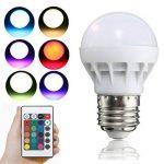 3W RVB LED ampoule colorée E27 multicolore gradateur lampe d'ampoule télécommande sans fil d'intérieur pour le mariage de fête de Noël de la marque Delicacydex image 3 produit