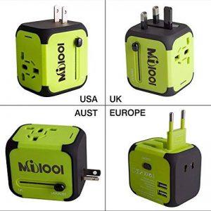 Adaptateur de Voyage avec 2 USB Adaptateur Universel Pris de Courant pour UE/US /UK/AUS Utilisé dans Plus de 150 Pays Adaptateur Chargeur avec Deux fusible(fusible de Rechange)-Vert-MILOOL de la marque Milool image 0 produit