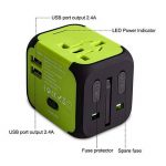Adaptateur de Voyage avec 2 USB Adaptateur Universel Pris de Courant pour UE/US /UK/AUS Utilisé dans Plus de 150 Pays Adaptateur Chargeur avec Deux fusible(fusible de Rechange)-Vert-MILOOL de la marque Milool image 3 produit