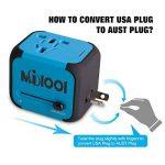 Adaptateur de Voyage avec 2 USB Adaptateur Universel Pris de Courant pour UE/US /UK/AUS Utilisé dans Plus de 150 Pays Adaptateur Chargeur avec Deux fusible(fusible de Rechange)-Bleu-MILOOL de la marque Milool image 4 produit