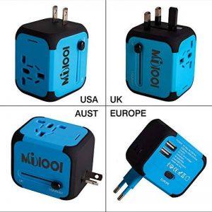 Adaptateur de Voyage avec 2 USB Adaptateur Universel Pris de Courant pour UE/US /UK/AUS Utilisé dans Plus de 150 Pays Adaptateur Chargeur avec Deux fusible(fusible de Rechange)-Bleu-MILOOL de la marque Milool image 0 produit