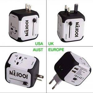 Adaptateur de Voyage avec 2 USB Adaptateur Universel Pris de Courant pour UE/US /UK /AUS Utilisé dans plus de 150 pays Adaptateur Chargeur avec deux fusible(fusible de rechange)-Blanc-MILOOL de la marque Milool image 0 produit