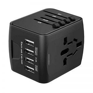 Adaptateur de Voyage Universel HUANUO Chargeur Secteur USB pour US/UK/AUS/EU Environ 150 Pays Adaptateur Prise Anglaise Convertisseur avec 4 Ports USB Multifonction-Noir de la marque HUANUO image 0 produit