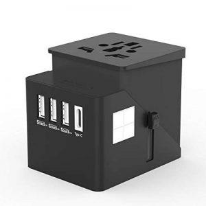 Adaptateur de Voyage Universel HUANUO Chargeur Secteur USB pour US/UK/AUS/EU Environ 150 Pays Adaptateur Prise Anglaise Convertisseur international avec 3 Ports USB + Type C Multifonction-Noir de la marque HUANUO image 0 produit