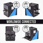 Adaptateur de voyage universel Plug, tout en un dans le monde entier International chargeur mural AC Adaptateur de prise avec 3ports USB et 1Type-C 3,4A, européens, adaptateur pour l'Europe, UK, US, au, Asie Intégré fusible de rechange (Castle-blue) de image 2 produit