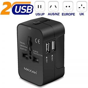 Adaptateur prise universel pour un meilleur voyage MAXAH Adaptateur de voyage avec 2 ports USB adaptateur prise double usb Tout en un adaptateur USB adaptateur international All in One Universal World Wide Travel Adapter pour plus de 150 pays et région co image 0 produit