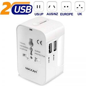 Adaptateur universel prise usb pour un meilleur voyage MAXAH Adaptateur universel de voyage avec 2 ports USB Tout en un adaptateur international adaptateur prise double usb All in One Universal World Wide Travel Adapter pour plus de 150 pays ou région com image 0 produit