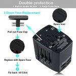 Adaptateur Voyage MILOOL avec 3 USB et 1 Type-c Port Adaptateur Universelle pour UK / EU / US / Adaptateur Prise tout-en-un Multi-prise Forme de la Maison (Black128) de la marque Milool image 4 produit