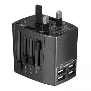 Adaptateur Voyage MILOOL avec 3 USB et 1 Type-c Port Adaptateur Universelle pour UK / EU / US / Adaptateur Prise tout-en-un Multi-prise Forme de la Maison (Black128) de la marque Milool image 0 produit