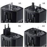 Adaptateur Voyage MILOOL avec 3 USB et 1 Type-c Port Adaptateur Universelle pour UK / EU / US / Adaptateur Prise tout-en-un Multi-prise Forme de la Maison (Black128) de la marque Milool image 2 produit