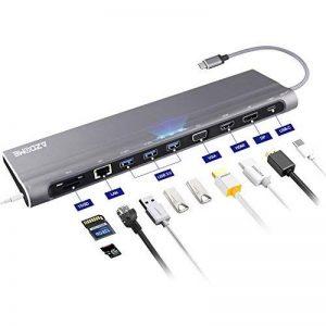 Adapteur USB C 12 en 1 AZDOME HUB USB C, 4K Double Ecran Affichage VGA HDMI DP, 3xUSB 3.0 Adapter Ethernet Lecteur Micro SD/TF, 3.5mm Mic/Audio et PD Femelle USB-C Docking Station pour MacBook Pro, Chromebook, Huawei p20 Pro et Tablettes de la marque AZDO image 0 produit