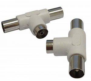 AERZETIX: 2 Fiches dédoubleurs multiprise pour antenne TV télé câble coaxial satellite de la marque AERZETIX image 0 produit