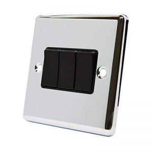AET Cpc3gswibl 10A 2voies au design innovant Chrome poli classique Interrupteur triple avec insert Noir Plastique Rocker commutateurs de la marque AET image 0 produit