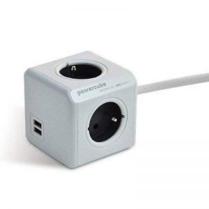Allocacoc PowerCube Original Bloc mural DuoUSB Multiprise - Alimentation avec 4 prises 230V et 2 prises USB (2.1 A) ,FR Avec 3M (Gris 2USB 3M) de la marque PowerCube image 0 produit