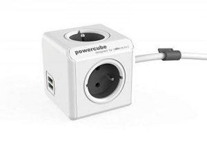 Allocacoc PowerCube Original Extended DuoUSB Adaptateur Multiprise avec 2 ports USB/4 prises pour Tablette 230 V (Trolley Gris 1.5 M) de la marque Allocacoc image 0 produit