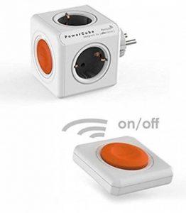 allocacoc PowerCube Remote Original avec PowerRemote, multiprise a 4 prises avec télécommande, 230V Schuko, Orange/Blanc de la marque Allocacoc image 0 produit
