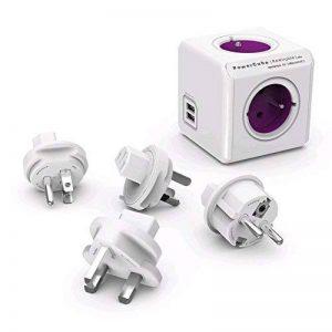 Allocacoc PowerCube ReWirable Travel Plugs - Adaptateur Multiprise de Voyage avec 4 Prises 230V et 2 Prises USB (2.1 A) FR, Blanc et Mauve de la marque Allocacoc image 0 produit