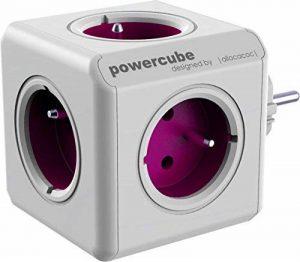 Allocacoc PowerCube ReWirable Travel Plugs - Adaptateur Multiprise de Voyage avec 5 Prises 230V FR, Blanc et Mauve de la marque Allocacoc image 0 produit