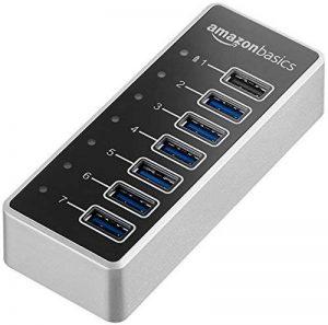 AmazonBasics Hub USB-C 3.1 7 ports avec adaptateur secteur 36 W (12 V/3 A), Argenté, UE de la marque AmazonBasics image 0 produit