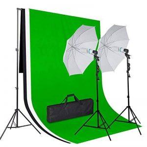 Amzdeal Kit Eclairage Photo Studio 2 Parapluies (Diamètre : 80cm),3 Toiles de Fond (Noir/Blanc/Vert) et Support,2* 135W Ampoules, 2 Trépieds pour Parapluies Réglables en Aluminium + Sac de Transport de la marque amzdeal image 0 produit