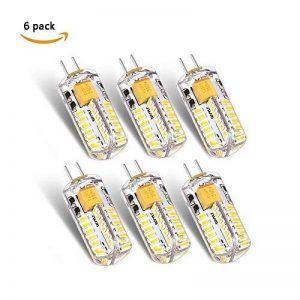 ANGGE Lot de 6 - G4 5W 48 x 13mm 48 SMD 2835 AC DC 12V LED Ampoule de maïs Haute puissance LED lumière Silicone projecteur Ampoule Blanc chaud Remplacement de la lampe Dimmable [Classe énergétique A +] - (Warm White) de la marque ANGGE image 0 produit