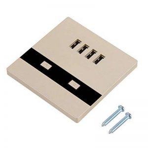 Asixx Prise Murale USB, Prise Électrique Murale avec 4 Ports USB et LED Lumière pour Chantiers de Construction, Compatible avec iPhone, Android et Tablet(Champagne) de la marque Asixx image 0 produit