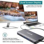 AZDOME HUB USB C 8 en 1 Type-C HUB Adaptateur, 2xUSB 3.0 HDMI 4K VGA PD Port RJ45 Ethernet, SD Lecteur et 3.5mm Audio Adapter pour Macbook/Chromebook Tablettes de la marque AZDOME image 1 produit