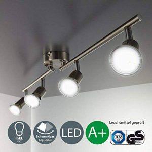 B.K. Licht plafonnier LED 4 spots orientables, 4X3W, GU10, IP20, spots plafond LED salon salle à manger chambre cuisine couloir, lumière blanche chaude de la marque B.K.Licht image 0 produit