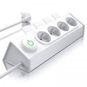 Bearware - 4x Bloc multiprise prises | avec mécanisme d'éjection (levier ) pour éjecter facilement les fiches avec la main ou le pied| jusqu'à 3680 W | gros interrupteur (éclairé) | peut être monté sur un mur| LED d'état (verte) | sécurité enfant intégrée image 0 produit
