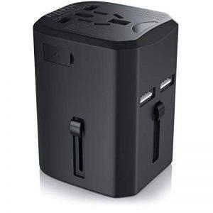 Bearware - Adaptateur de Voyage avec 2 USB/Chargeur USB | Adaptateur de Voyage UE/US /UK/AUS 100V 110V 220V / Adaptateur Secteur | Prise de Voyage | pour Plus de 140 Pays de la marque Bearware image 0 produit