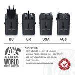 Bearware - Adaptateur de Voyage avec 2 USB/Chargeur USB | Adaptateur de Voyage UE/US /UK/AUS 100V 110V 220V / Adaptateur Secteur | Prise de Voyage | pour Plus de 140 Pays de la marque Bearware image 3 produit