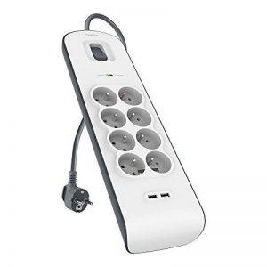Belkin - BSV804ca2M - Multiprise/Parafoudre 8 Prises avec 2 Ports USB - Cordon de 2m - Blanc (Protection jusqu'à 900 joules) de la marque Belkin image 0 produit