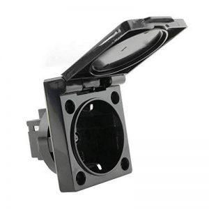 BeMatik - Prise schuko encastrable IP44 vis avec Couvercle Noir de la marque BeMatik.com image 0 produit