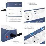 BESTEK multiprise USB 6interrupteurs avec parasurtenseur, grand distance., blanc 3600.00 wattsW de la marque BESTEK image 1 produit