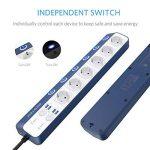 BESTEK multiprise USB 6interrupteurs avec parasurtenseur, grand distance., blanc 3600.00 wattsW de la marque BESTEK image 2 produit