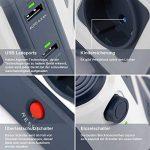BESTEK Tour Multiprise Parasurtenseur Parafoudre avec 8 Prises EU et 6 Ports USB 2,4A, Interrupteur, Adaptateur Douille, Clapet Sécuritaire, 1600J Protection Surtensions, Clapet Sécurisé, 3600W/16A de la marque BESTEK image 2 produit