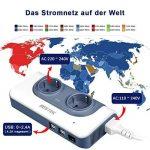BESTEK Transformateur Convertisseur de Voyage 200W Adaptateur de Voyage Version Améliorée AC 100-120V à AC 230V10V 2 Prises EU 4 Ports USB 4 Adapteurs Prises (USA,UK,EU,AUS.) -Bleu de la marque BESTEK image 3 produit