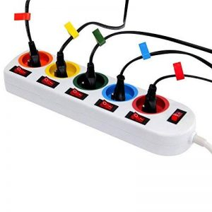 Bloc Multiprise Couleur - Interrupteur pour chaque sortie + 5 stickers de la marque Fishtec ® image 0 produit