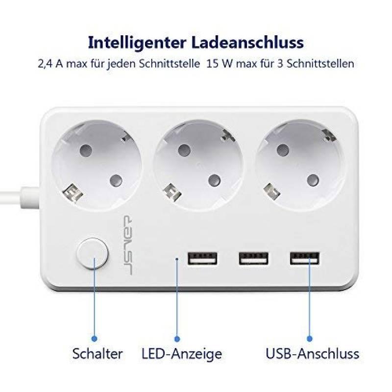 Blanc Bloc multiprise Cordon 1.8 m/ètres JSVER Multiprise USB 3 Prises Outlet Multiprise Electrique avec 3 Ports USB de Recharge