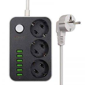 Bloc prises USB, M. Way 1.6mètres avec 6USB, 3prises avec interrupteur, 2500W 3.4A 5V Bloc avec protection parafoudre pour Smartphone, Telefonos, tablettes, caméras et autres appareils de la marque M.Way image 0 produit