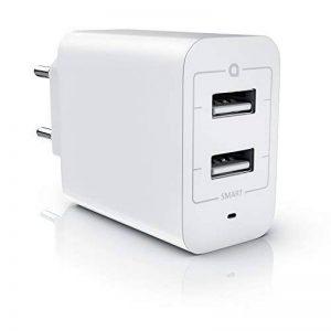 Bloc secteur / chargeur à 2 ports USB d'Aplic (4800mA total / max. 2400mA par port) | adaptateur de recharge à 2 ports USB / USB Charger | adapté pour téléphones portables, smartphones, tablettes, et beaucoup d'autres (Asus, Huawei, LG, Oppo, Oukitel, Mot image 0 produit