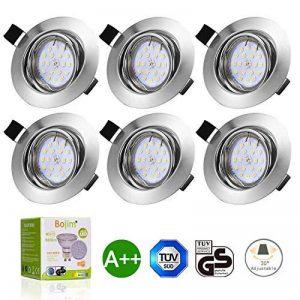 Bojim 6x LED Spots Encastrables Orientable GU10 Lampe de plafond Blanc du Jour Plafonnier Encastré 6W 600lm Equivalente de 54W Ampoule 30°orientable 120°d'éclairage 220V Rond Métal Nickel Non Dimmable de la marque Bojim image 0 produit