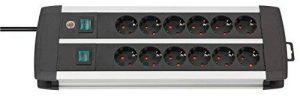 Brennenstuhl 1391000912Premium Line, Bloc multiprise 12Prises en Aluminium–Multiprise en Aluminium de qualité (avec 2interrupteurs pour Je 6Prises et câble de 3m) Couleur: Noir, Noir/Argent de la marque Brennenstuhl image 0 produit