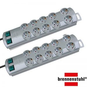 Brennenstuhl Primera-Line - Multiprise à 10prises, avec 2interrupteurs pour chaque groupe de 5prises et câble de 2m, couleur: noir de la marque Brennenstuhl image 0 produit
